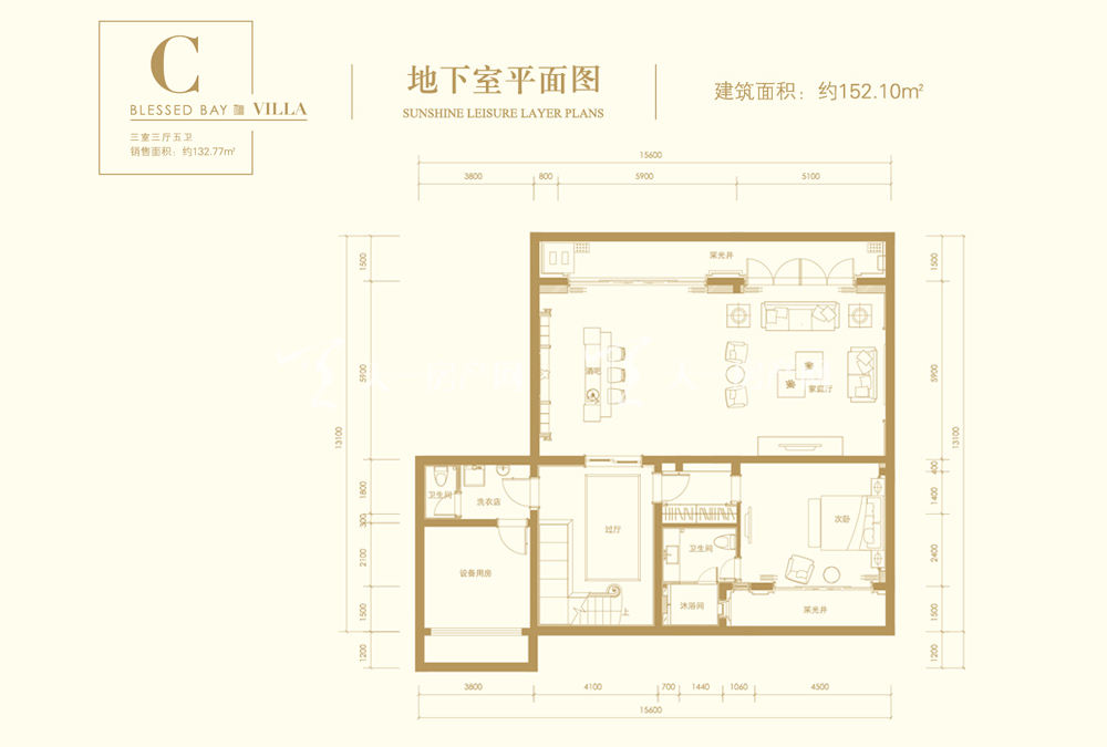 葛洲坝海棠福湾葛洲坝海棠福湾C户型 3室3厅5卫 163㎡地下室平面图