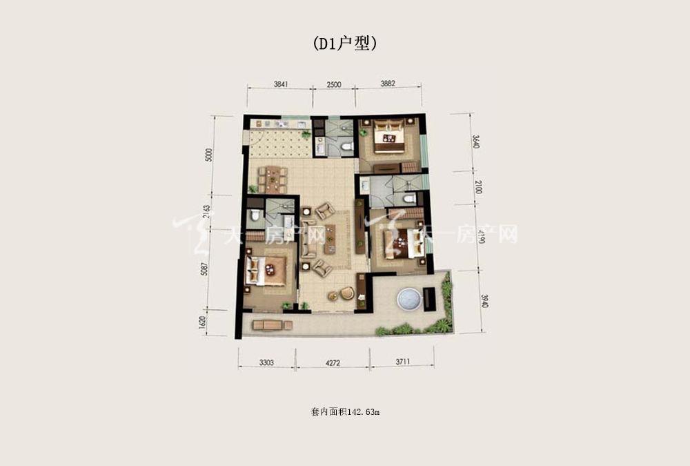 Aloha阿罗哈Aloha阿罗哈海景公寓D1户型3室2厅3卫