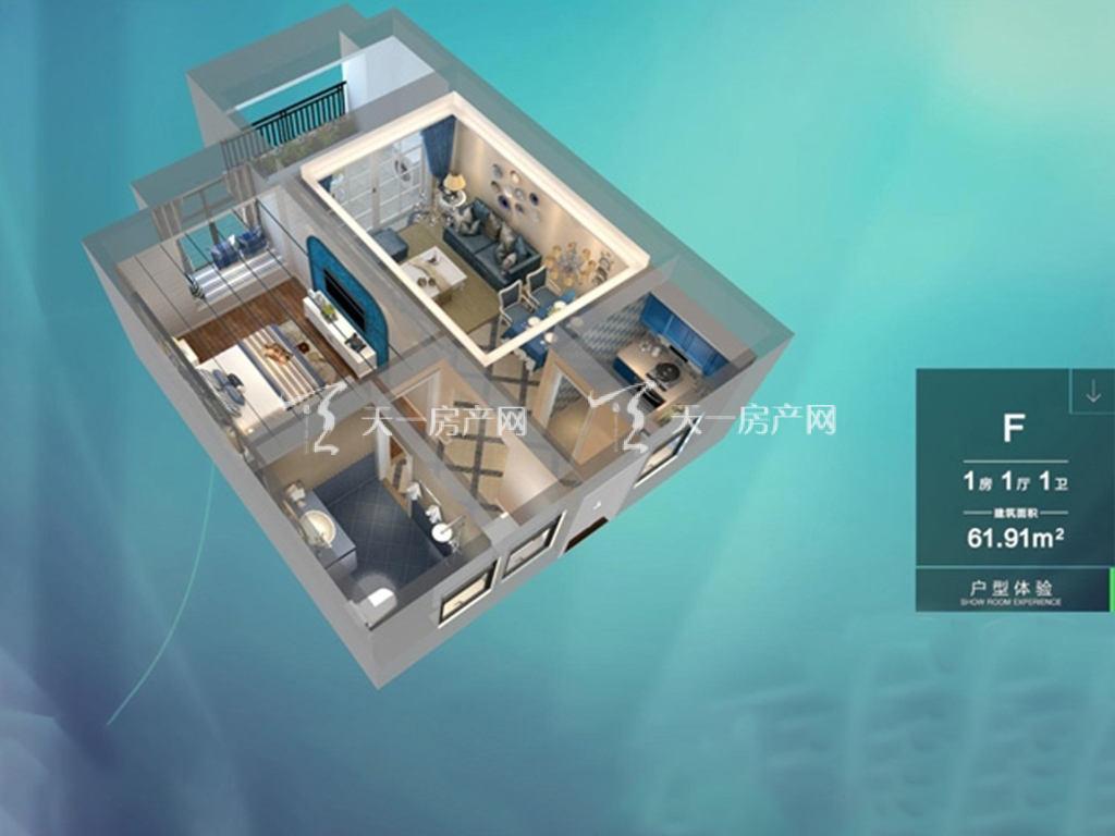 东方蓝城一号 1室1厅1卫  建筑面积61.91㎡