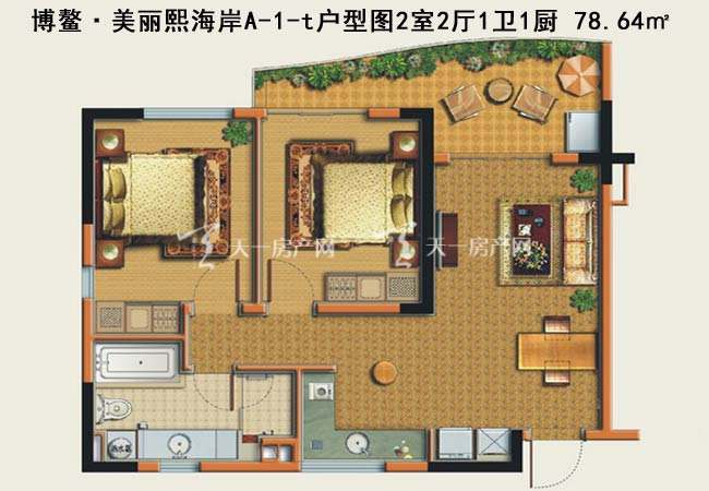 博鳌美丽熙海岸博鳌·美丽熙海岸A-1-t户型图2室2厅1卫1厨-78.64