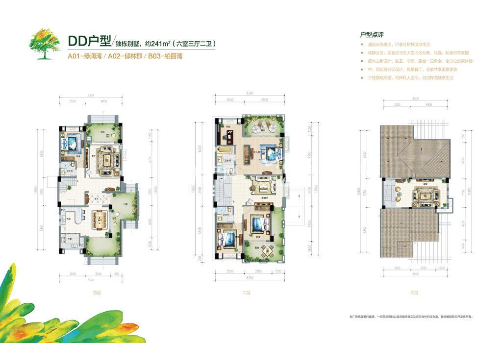 富力红树湾 富力红树湾0129独栋别墅户型DD户型六室三厅二卫241㎡