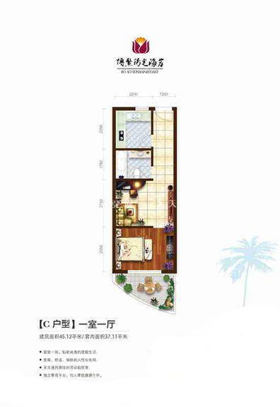 博鳌阳光海岸 1室1厅1厨1卫45.12㎡.jpg