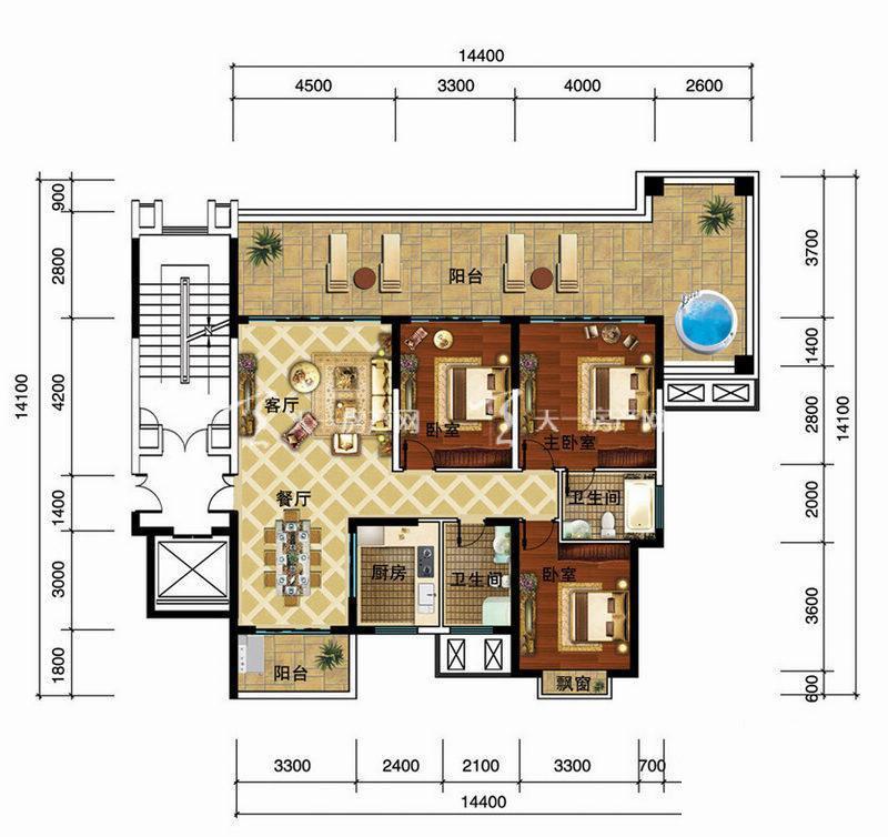 金碧海岸 金碧海岸公寓A户型3室2厅2卫1厨150.00㎡.jpg
