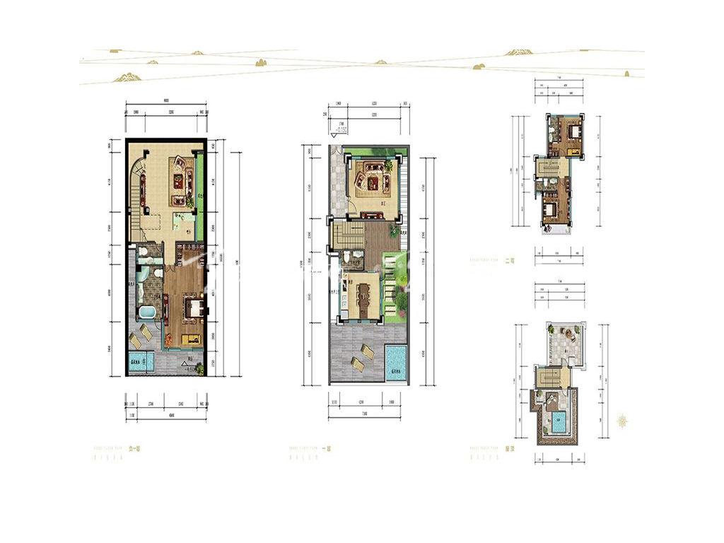 海棠湾8号 双拼别墅户型 负一层、一层、顶层 3房2厅3卫1厨 128
