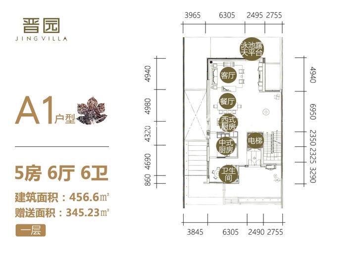 晋园 A1户型 一层 5房6厅6卫 456.6㎡赠送345㎡