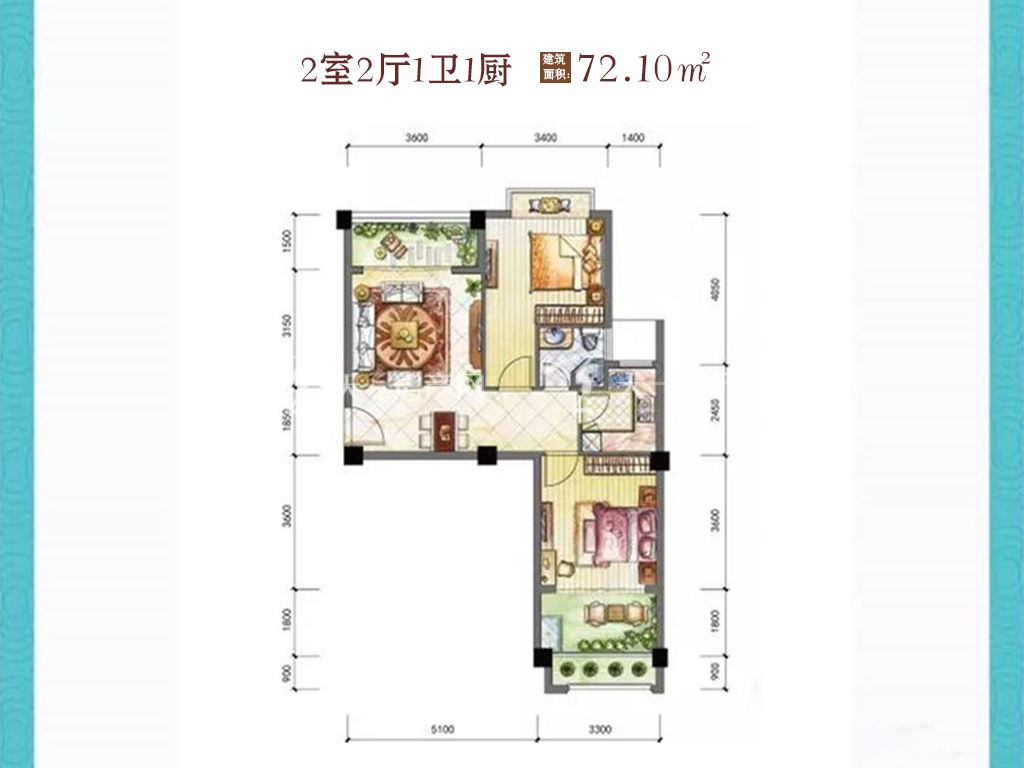东方阳光海岸 2室2厅1卫1厨建筑面积:72.10㎡