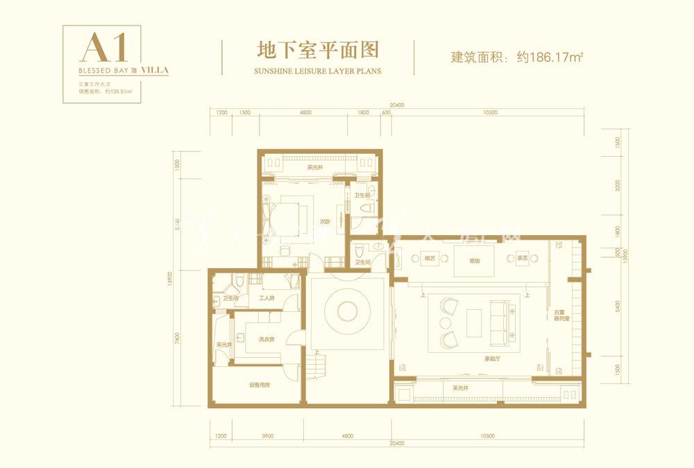 葛洲坝海棠福湾葛洲坝海棠福湾A1户型 3室3厅6卫 161㎡地下室
