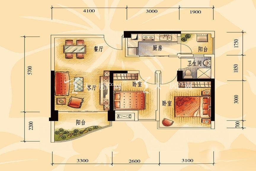 碧桂园金沙滩一期商业街洋房J606-A户型2室2厅1厨1卫72.55㎡。