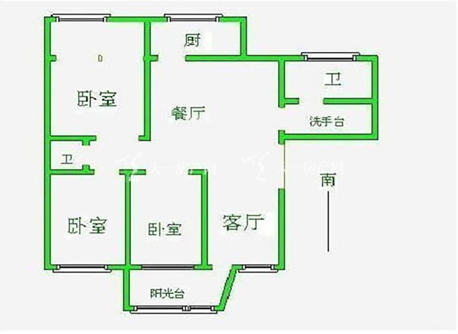 椰香海韵 椰香海韵户型图3房2厅1卫1厨.jpg