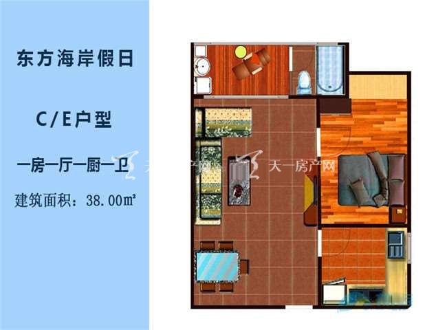 东方海岸假日 C、E户型1房1厅1厨1卫建筑面积38.00㎡