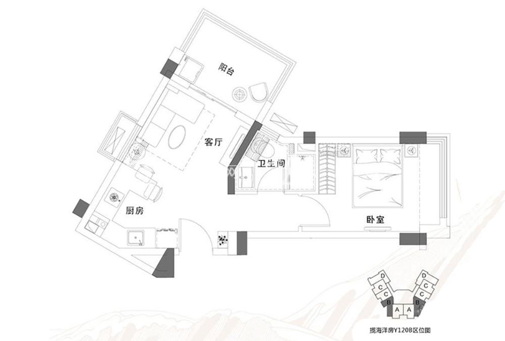 碧桂园东海岸碧桂园东海岸揽海洋房Y120B户1室1厅1厨1卫54.44㎡