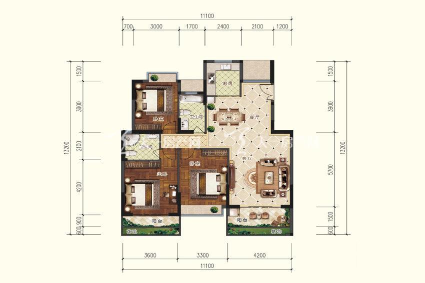双龙苑 B2户型,3室2厅2卫,建筑面积约126.12平米.jpg