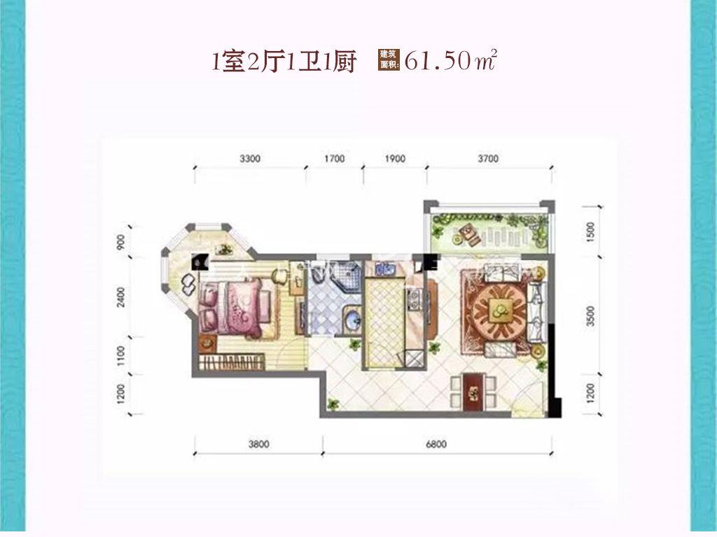 东方阳光海岸 1室2厅1卫1厨建筑面积:61.50㎡