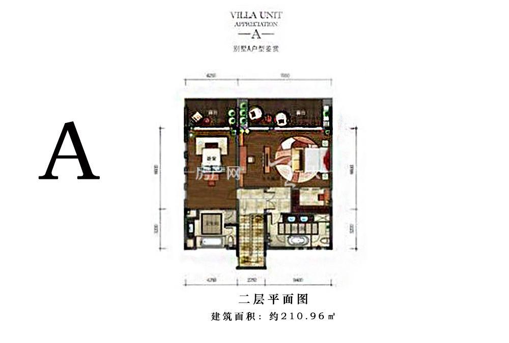 合景汀澜海岸合景汀澜海岸别墅A户型图210.96㎡二层平面图