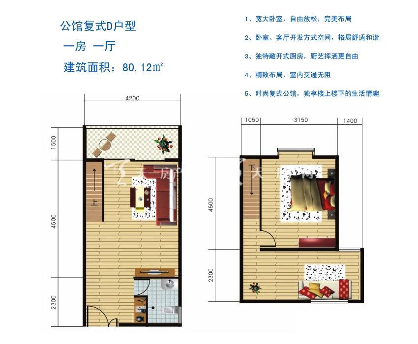 博鳌滨海小镇 公馆复式D户型-1房1厅1厨1卫80.12㎡.jpg