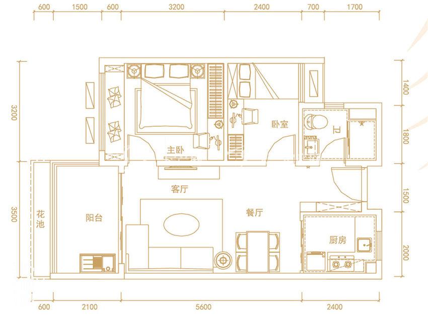 碧桂园齐瓦颂 悦海公寓Y203-A2, 2室2厅1卫, 建筑面积约67㎡