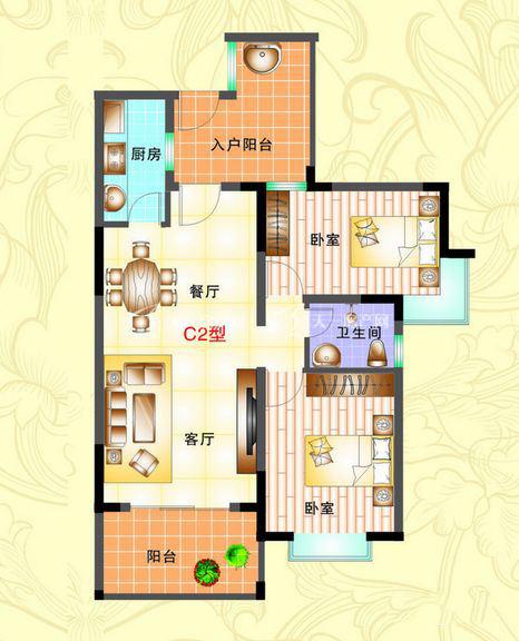 榆海万泉河畔 2室2厅1厨1卫87.23㎡.jpg