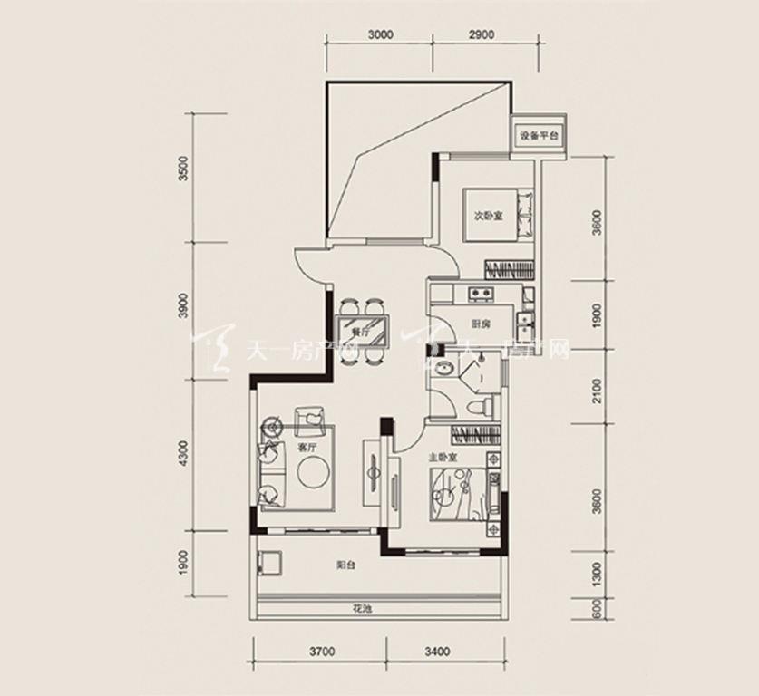 红塘湾鲁能公馆 D户型,2室2厅1卫1厨,建筑面积约87.00平米.jpg