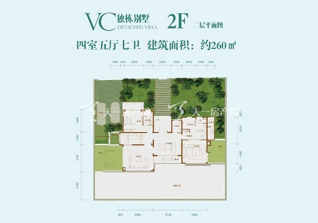 龙溪悦墅 龙溪悦墅VC独栋别墅-2F户型-4室2厅--建筑面积260
