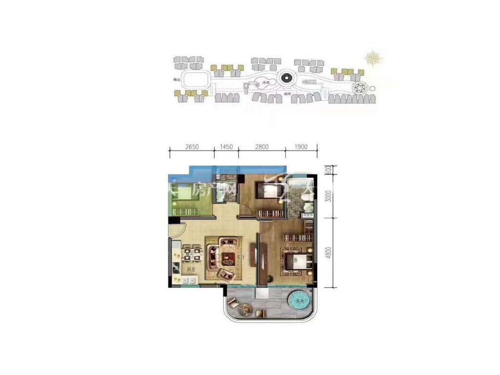 海棠湾8号 温泉公馆C户型 3室2厅1厨2卫 91㎡.jpg