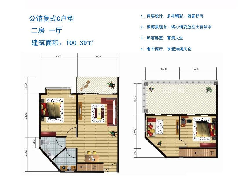 博鳌滨海小镇 公馆复式C户型-2房1厅1厨1卫100.39㎡.jpg