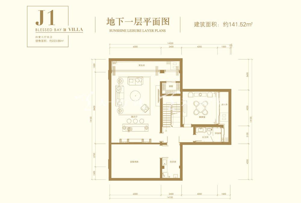 葛洲坝海棠福湾葛洲坝海棠福湾J1户型 4室3厅4卫 141㎡地下一层平面图