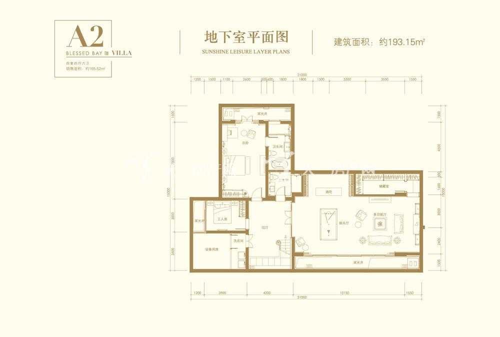 葛洲坝海棠福湾葛洲坝海棠福湾A2户型 4室4厅6卫 193㎡地下室平面图