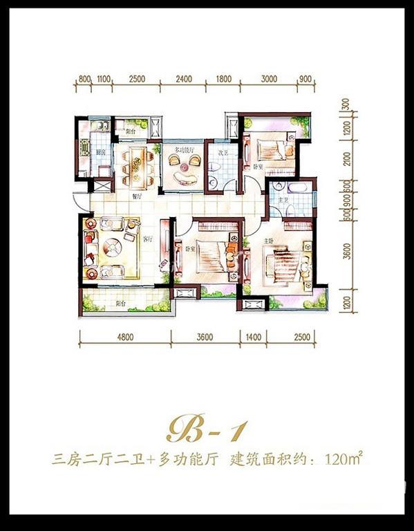 鲁能海蓝福源鲁能海蓝福源东3区公寓B-1户型3室2厅2卫1厨120.00
