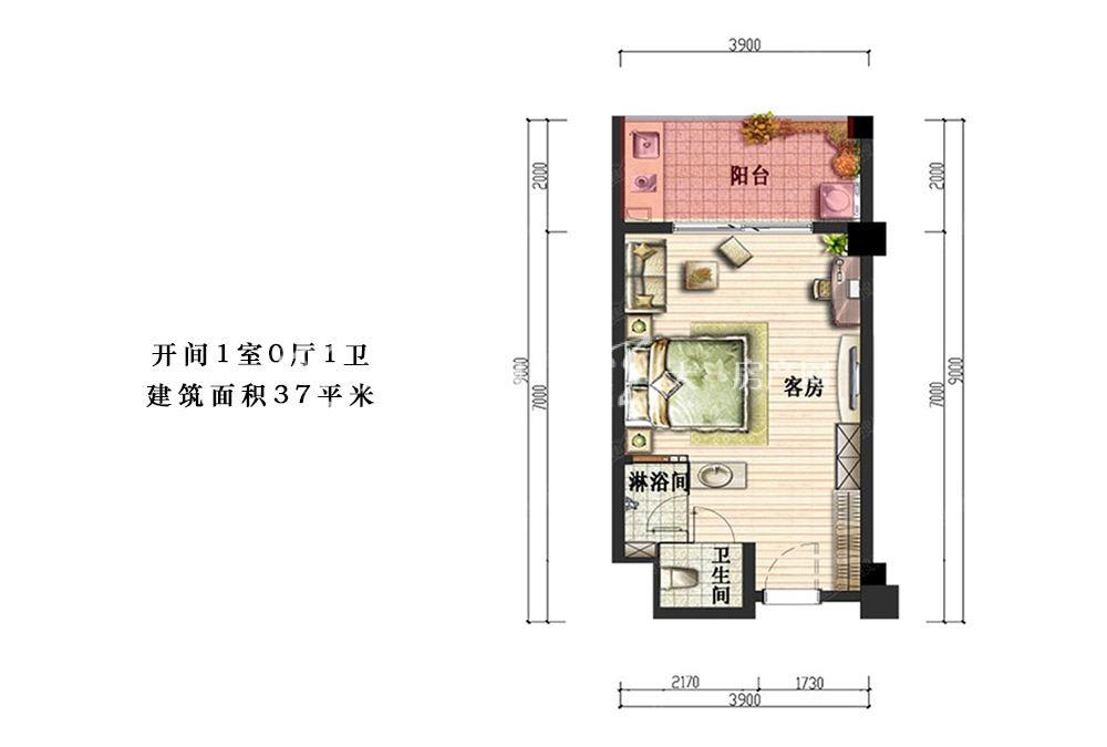 荣盛香水湾开间1室0厅1卫建筑面积37平米