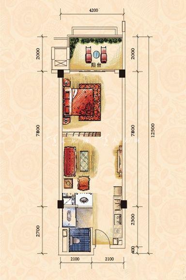 碧桂园金沙滩一期海景洋房J623-A户型1室0厅1厨1卫67.85㎡.j
