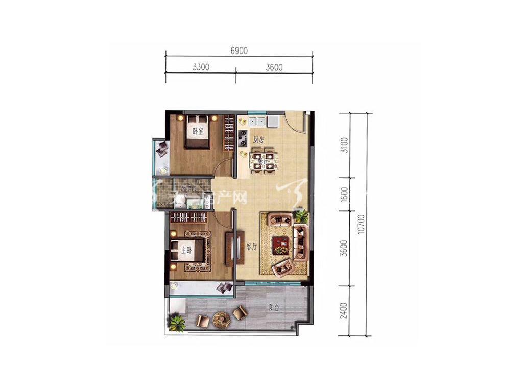 海棠湾8号 温泉公馆A1户型 2室2厅1卫1厨 83㎡.jpg