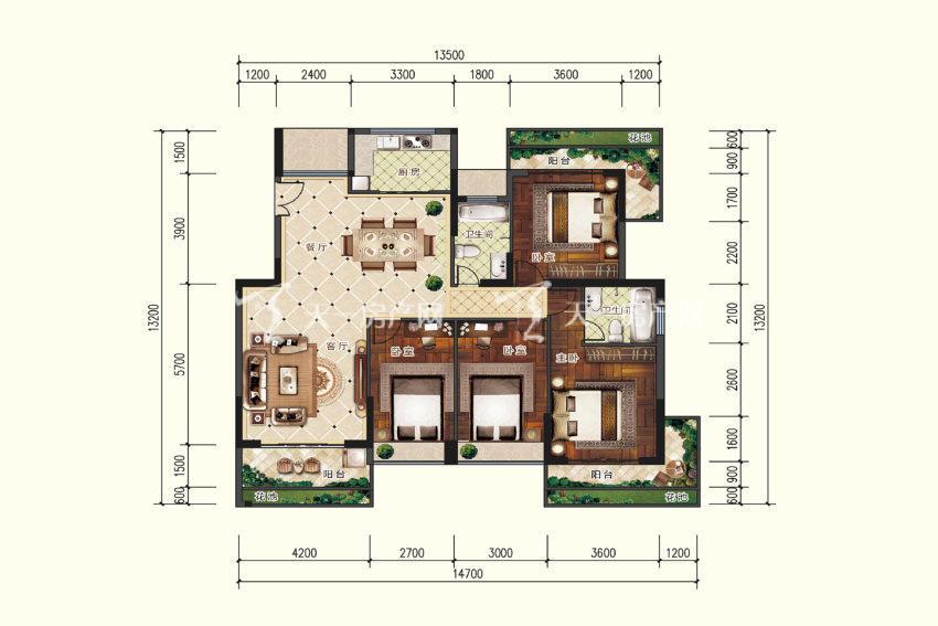 双龙苑 A4户型,4室2厅2卫,建筑面积约154.83平米.jpg