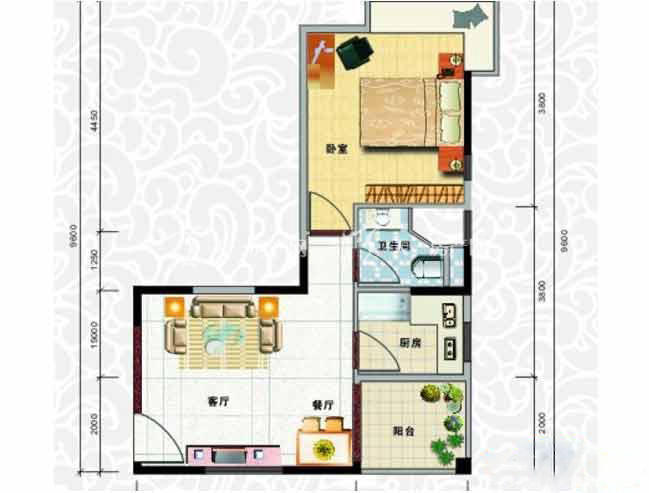 天龙佳园 1室2厅1卫1厨建筑面积57.24㎡.jpg
