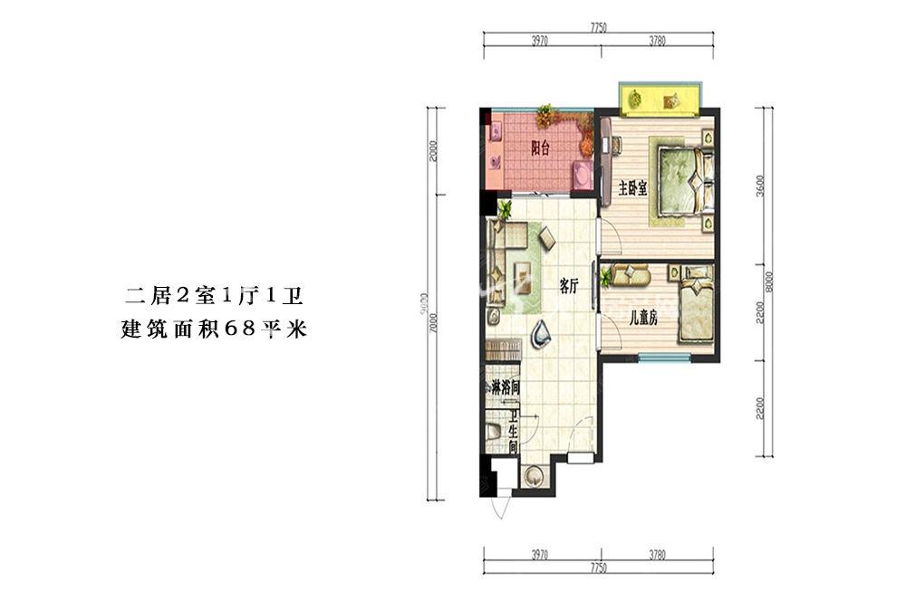 荣盛香水湾二居2室1厅1卫建筑面积68平米