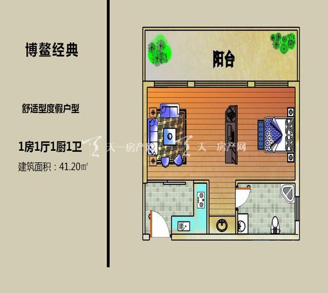 博鳌经典 舒适型度假户型1房1卫1厨41.20.jpg