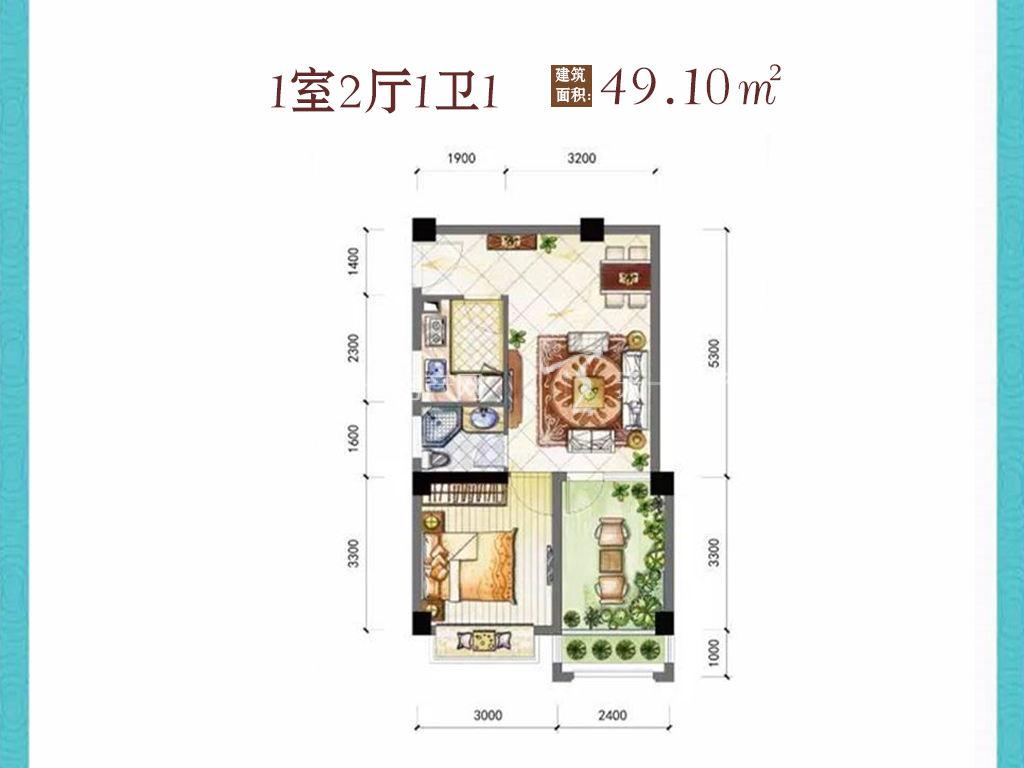 东方阳光海岸 1室2厅1卫1厨建筑面积:49.10㎡