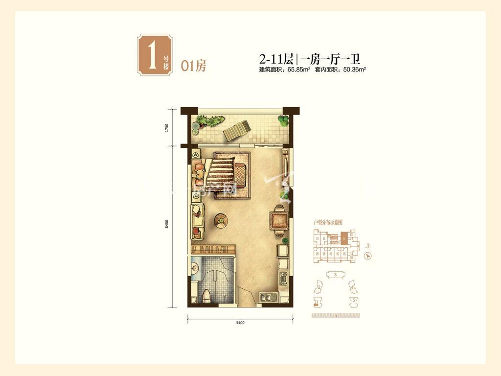 海航男爵公馆 1-01房户型1室1厅1卫65