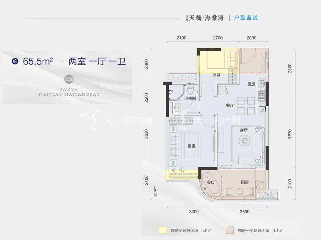 天骄海棠湾 公寓户型-2房1厅1卫-约65.5㎡.jpg