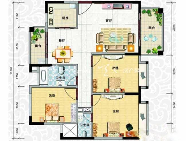 天龙佳园 3室2厅1卫1厨建筑面积107.78㎡.jpg