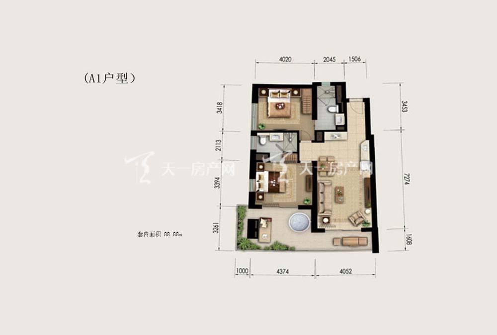 Aloha阿罗哈Aloha阿罗哈海景公寓A1户型2室1厅2卫