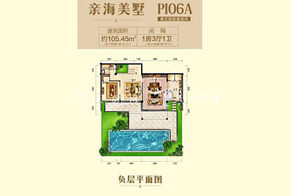 碧桂园东海岸亲海别墅P106A户型负层1室3厅1厨1卫105.45㎡