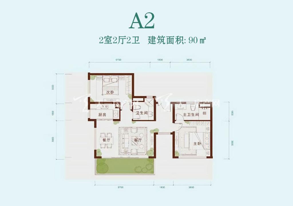 龙溪悦墅 龙溪悦墅A2户型-2室2厅2卫--建筑面积90㎡