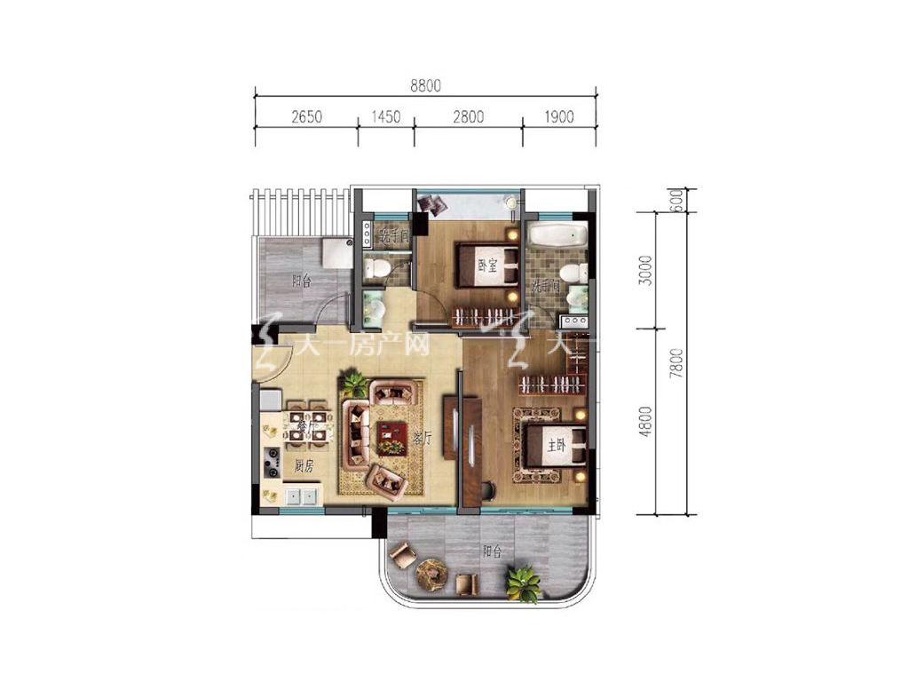 海棠湾8号 B2户型 2室2厅2卫1厨 88-90㎡.jpg