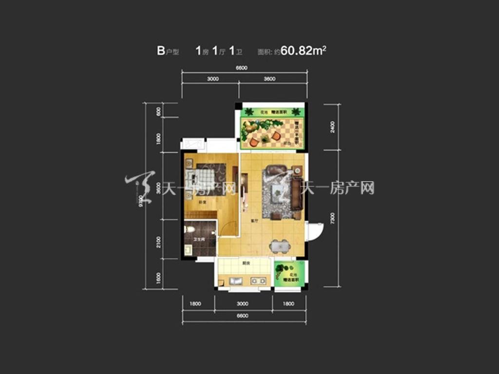 东方蓝城一号 1室1厅1卫  建筑面积60.82㎡