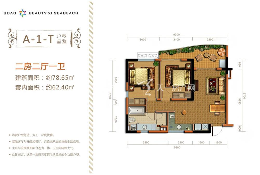 博鳌美丽熙海岸 A-1-T户型2房2厅1卫约78.65㎡.jpg