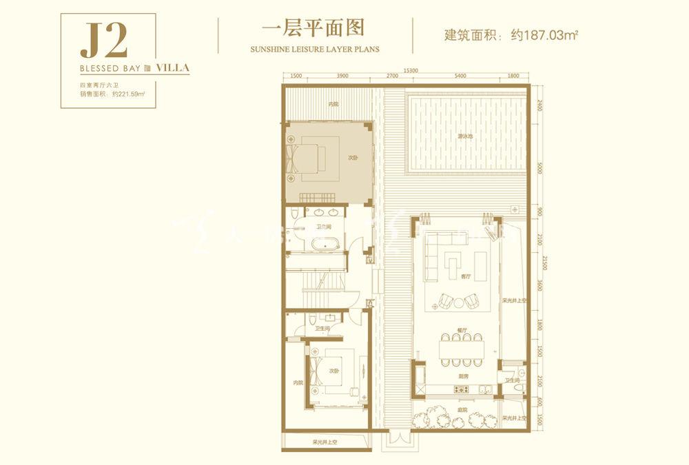 葛洲坝海棠福湾葛洲坝海棠福湾J2户型 4室2厅6卫 187㎡一层平面图