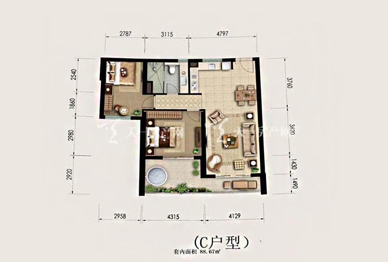 Aloha阿罗哈Aloha阿罗哈海景公寓C1户型2室2厅1卫