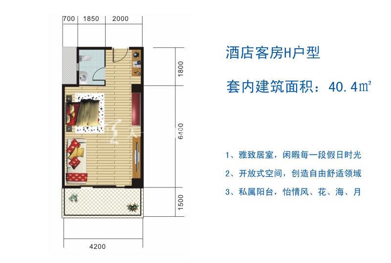 博鳌滨海小镇 酒店客房H户型-1房1厅1厨1卫40.4㎡.jpg