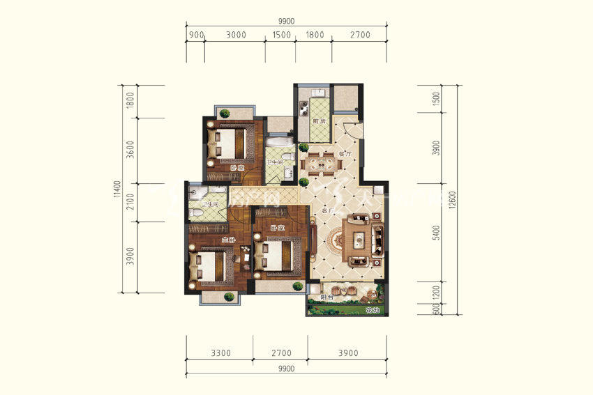 双龙苑 B3户型,3室2厅2卫,建筑面积约109.41平米.jpg