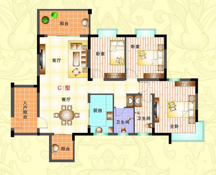 榆海万泉河畔 3室2厅1厨2卫127.51㎡.jpg